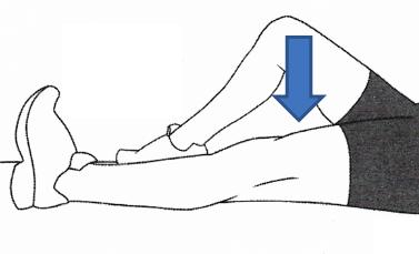 Actividades de contracción de cuádriceps tumbado. Guía práctica para pacientes con Prótesis Total de Cadera IMTRA