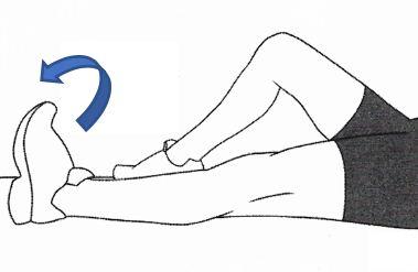 Ejercitar los tobillos tumbado. Guía práctica para pacientes con Prótesis Total de Cadera IMTRA